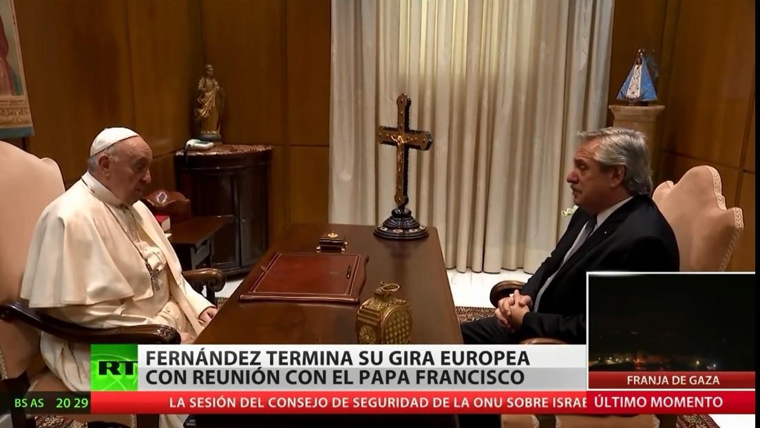 Alberto Fernández termina su gira europea con una reunión con el papa Francisco