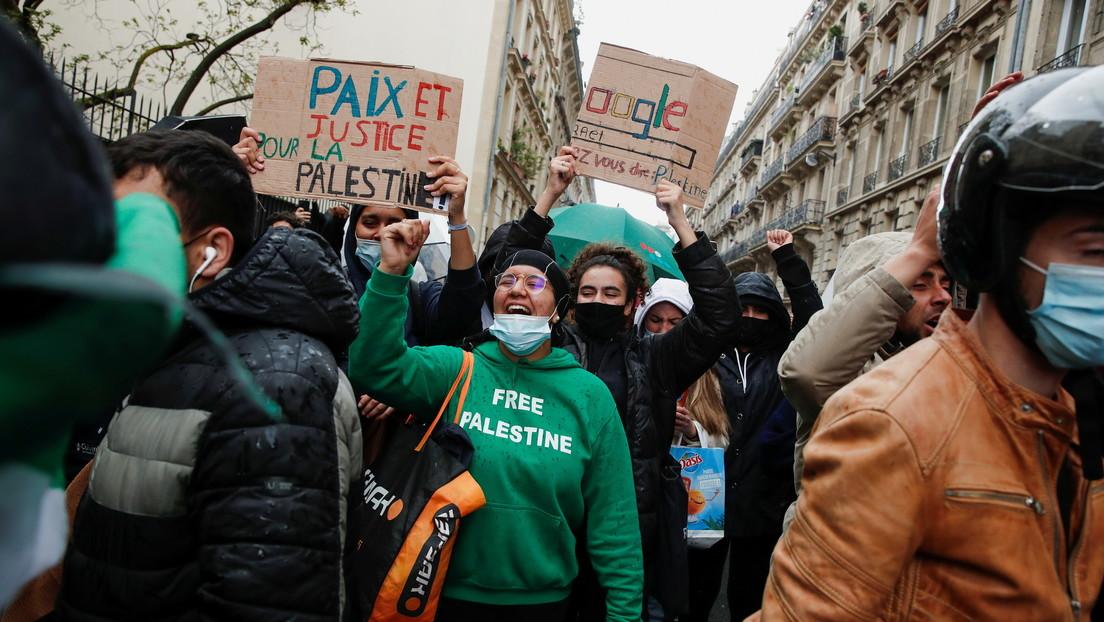 La Policía usa cañones de agua y gas lacrimógeno para dispersar una manifestación en apoyo a Palestina en París
