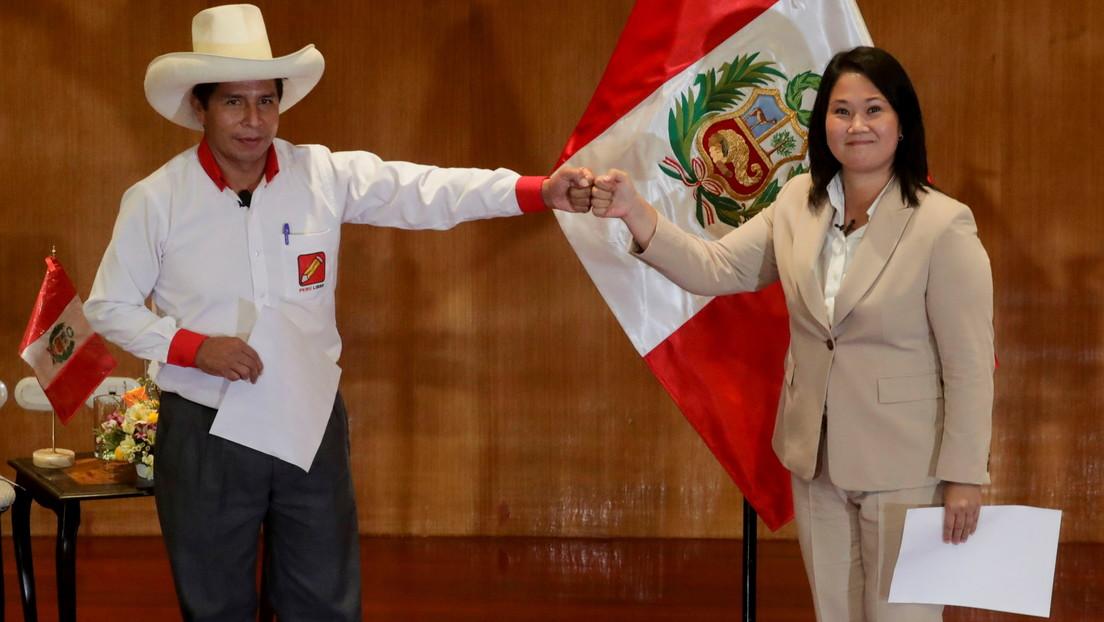 A tres semanas del balotaje, Keiko Fujimori y Pedro Castillo juran defender la democracia y los derechos humanos en Perú