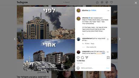 Las Fuerzas de Defensa de Israel celebran la destrucción de un bloque de viviendas en Gaza con un meme en Instagram