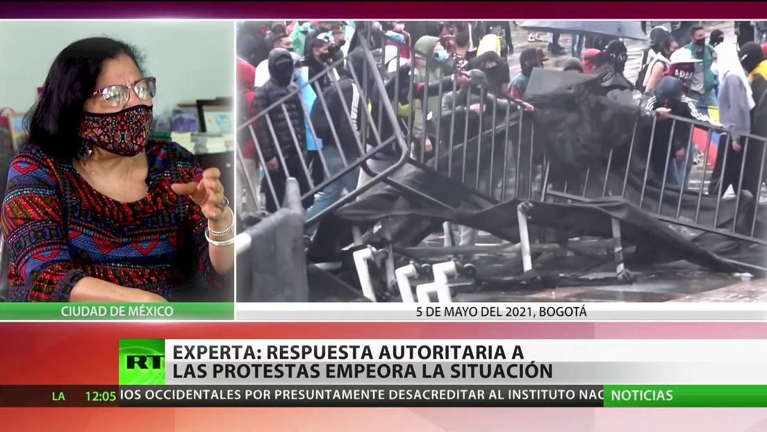"""Experta afirma que la respuesta autoritaria del Gobierno colombiano a las protestas solo """"echa gasolina al fuego"""""""