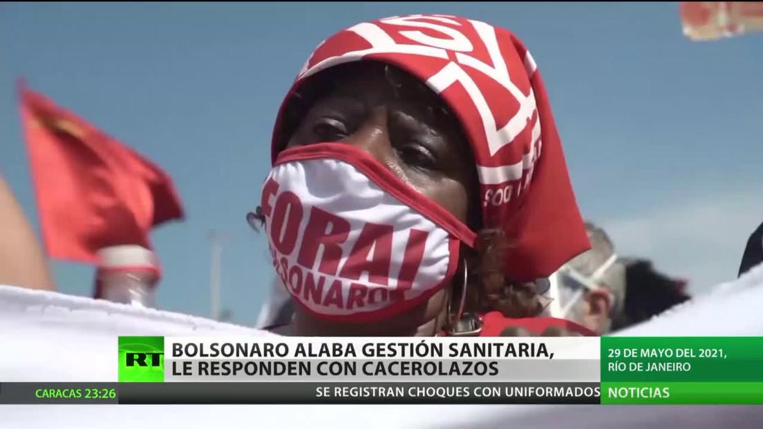 Bolsonaro alaba su gestión sanitaria y le responden con cacerolazos