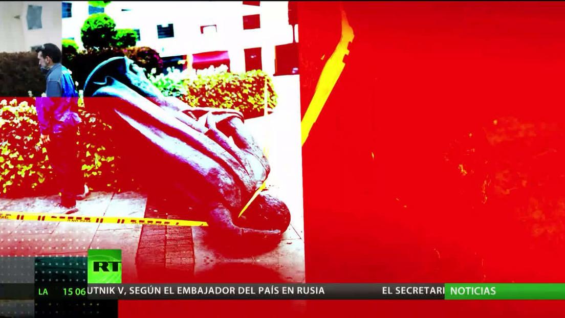 ¿Reformar el pasado? Manifestantes colombianos derriban monumentos a conquistadores y políticos de derecha