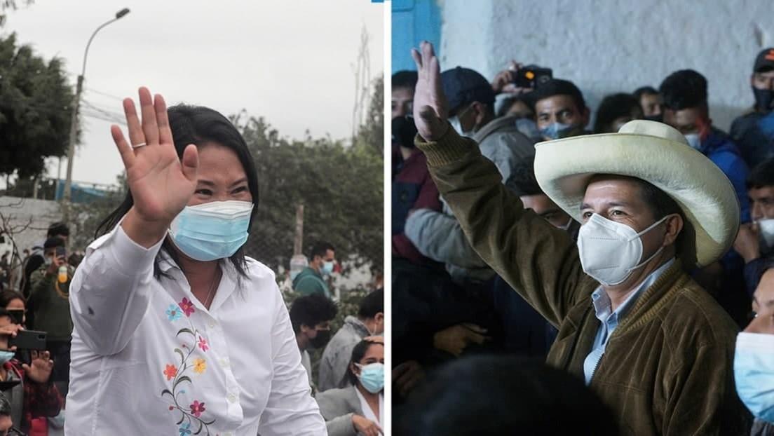El balotaje de Perú: mínima ventaja de Fujimori frente a Castillo en un recuento de infarto
