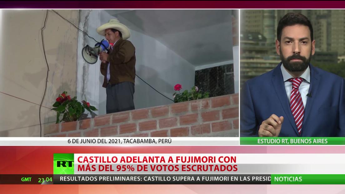 Elecciones en Perú: Castillo adelanta por la mínima a Fujimori con más del 95 % de los votos escrutados