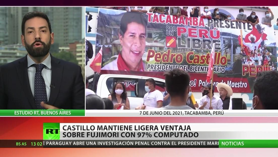 Perú: Castillo mantiene una leve ventaja sobre Fujimori, con el 97 % escrutado