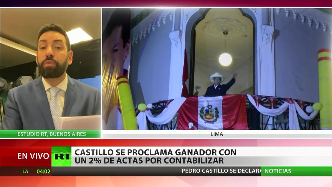 Perú: Castillo se proclama ganador con menos del 2 % de las actas por  contabilizar