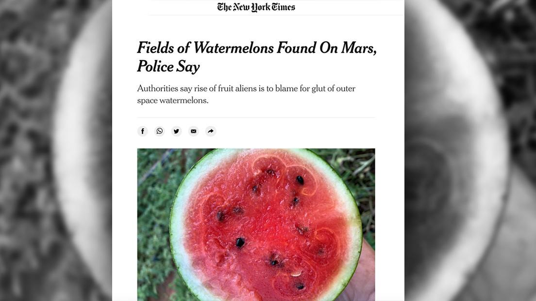 """The New York Times anuncia el descubrimiento de sandías en Marte que """"saben bien"""" y luego elimina el artículo"""