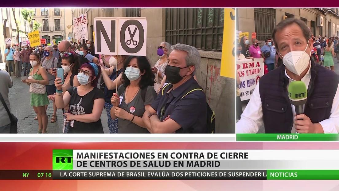 Protestas en contra del cierre de centros de salud en Madrid
