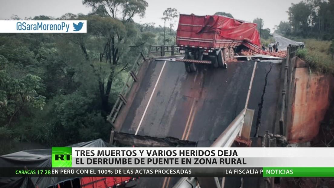 Paraguay: Tres muertos y varios heridos al derrumbarse un puente en una zona rural