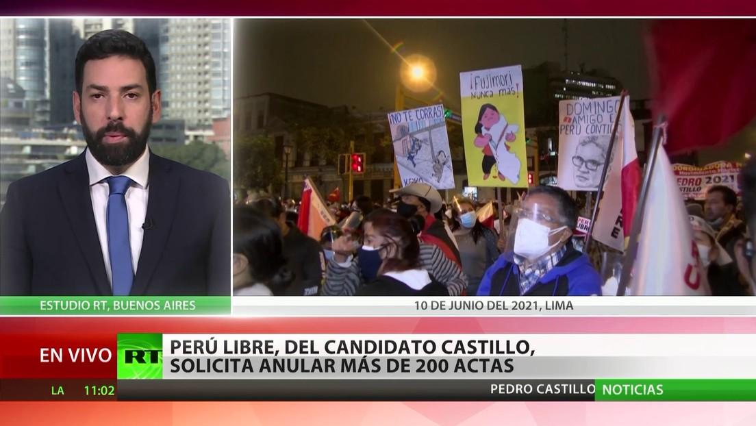 El partido Perú Libre, del candidato Castillo, solicita anular más de 200 actas
