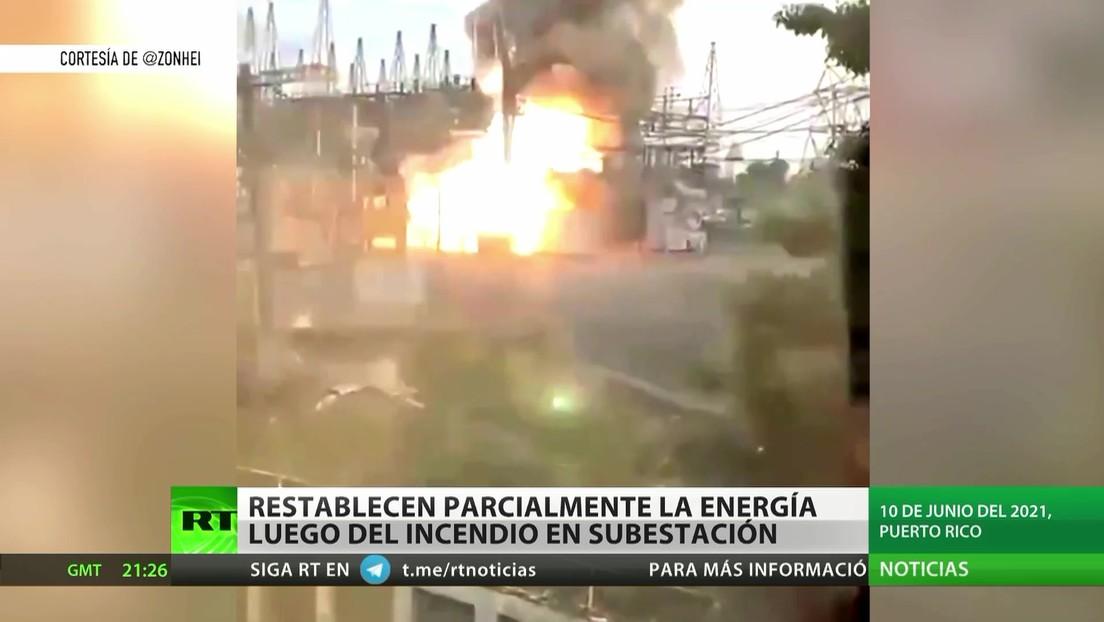 Restablecen parcialmente la energía luego del incendio de una subestación en Puerto Rico