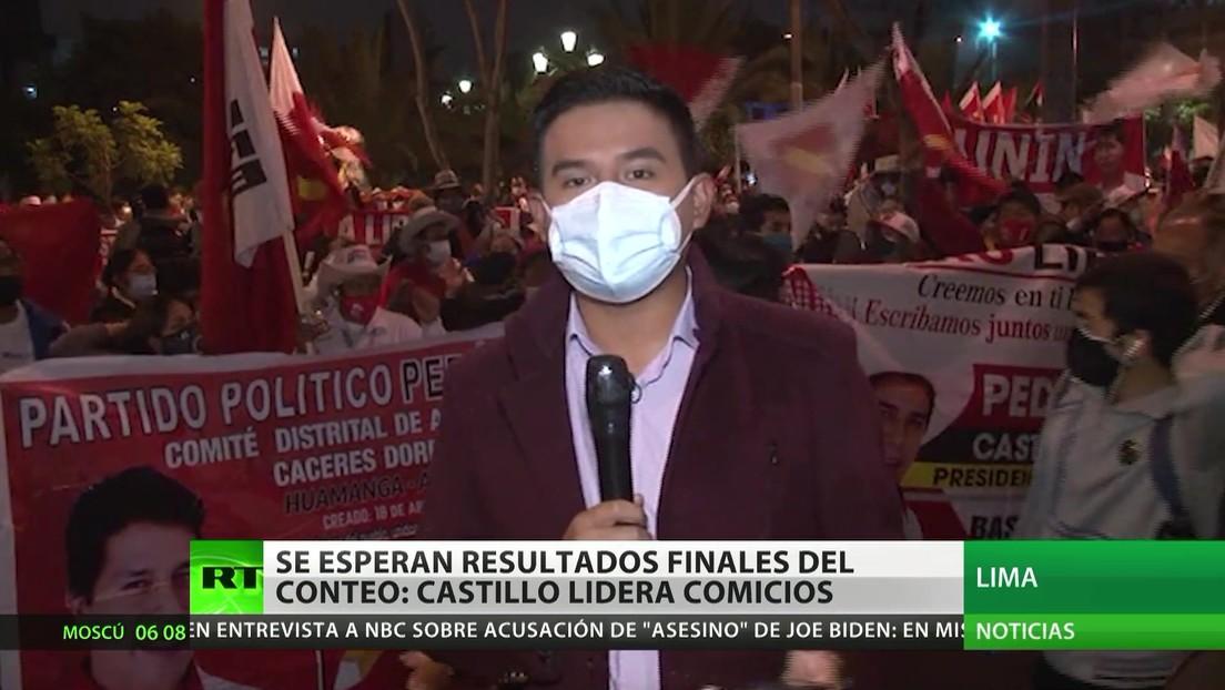 Perú espera los resultados finales del conteo: Castillo lidera los comicios