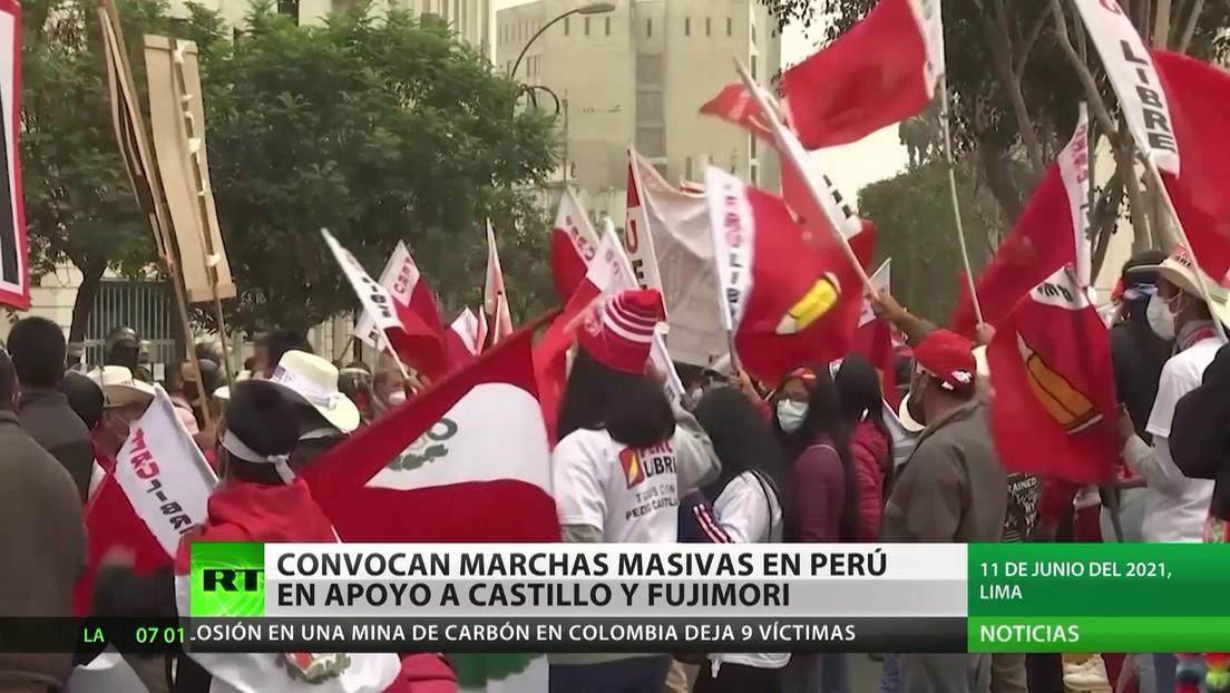 Convocan a marchas masivas en Perú en apoyo a Castillo y Fujimori