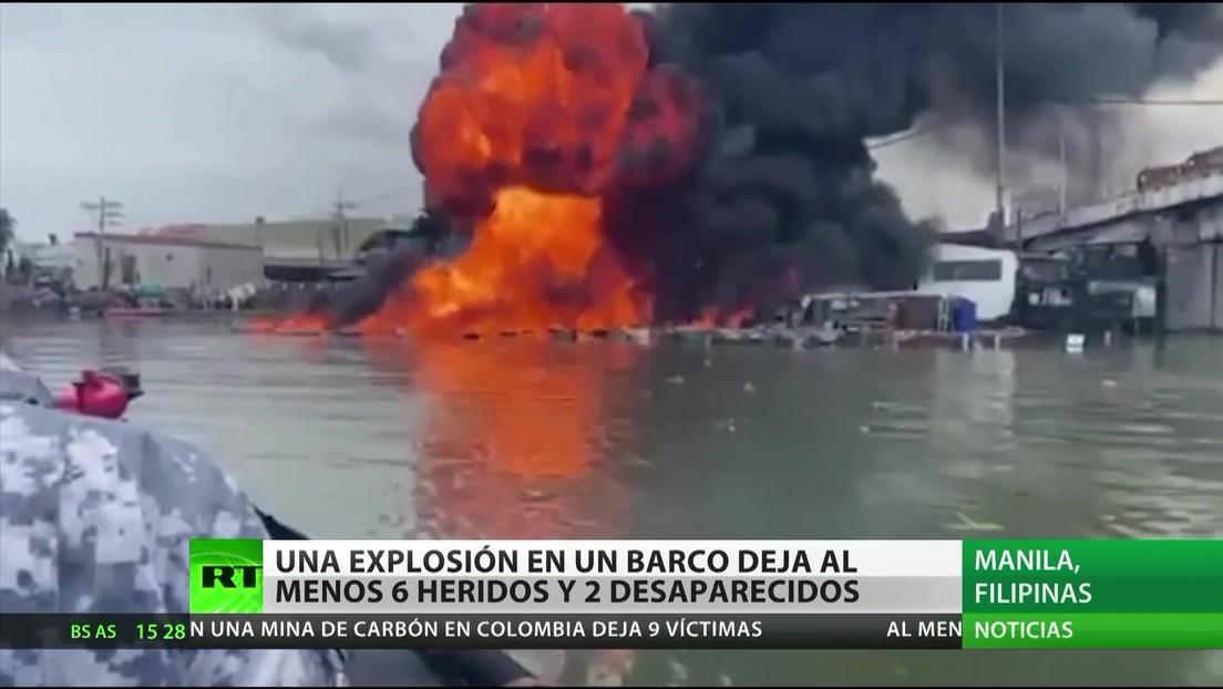 Filipinas: Una explosión en un barco deja al menos seis heridos y dos desaparecidos