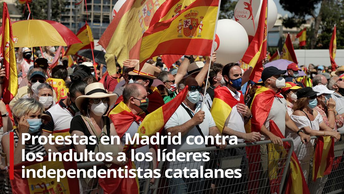 VIDEO: Protestas en Madrid contra los indultos a los líderes independentistas catalanes