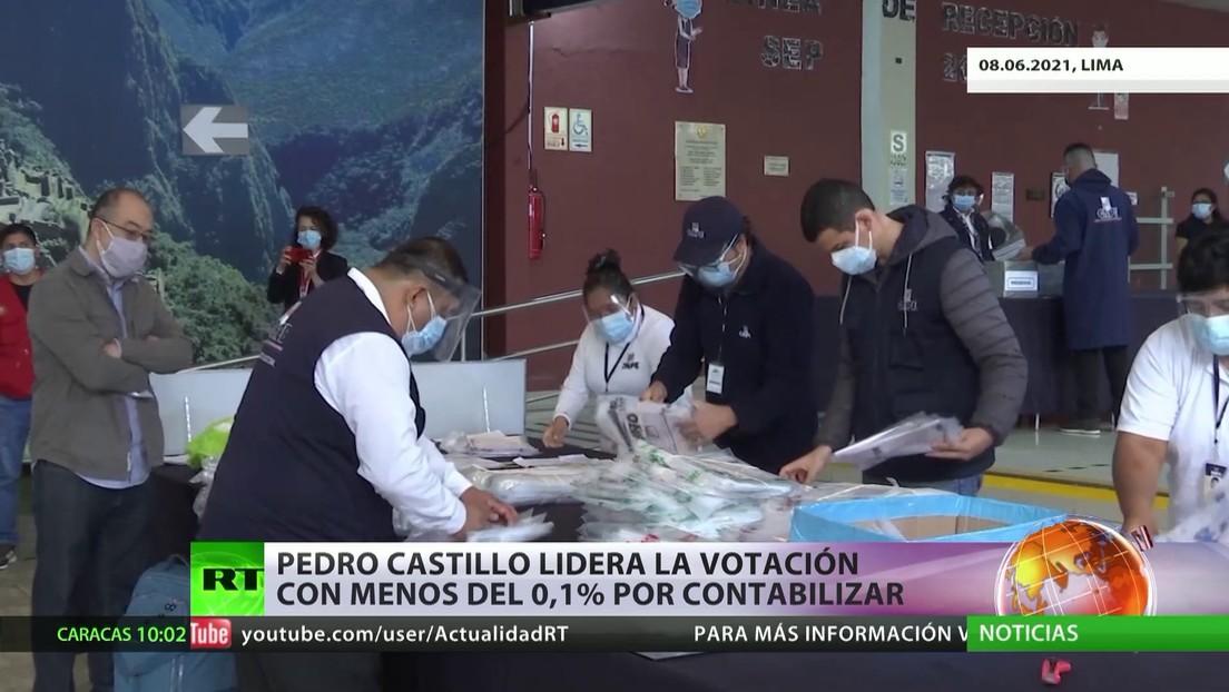 Pedro Castillo lidera la votación con menos del 0,1 % por contabilizar