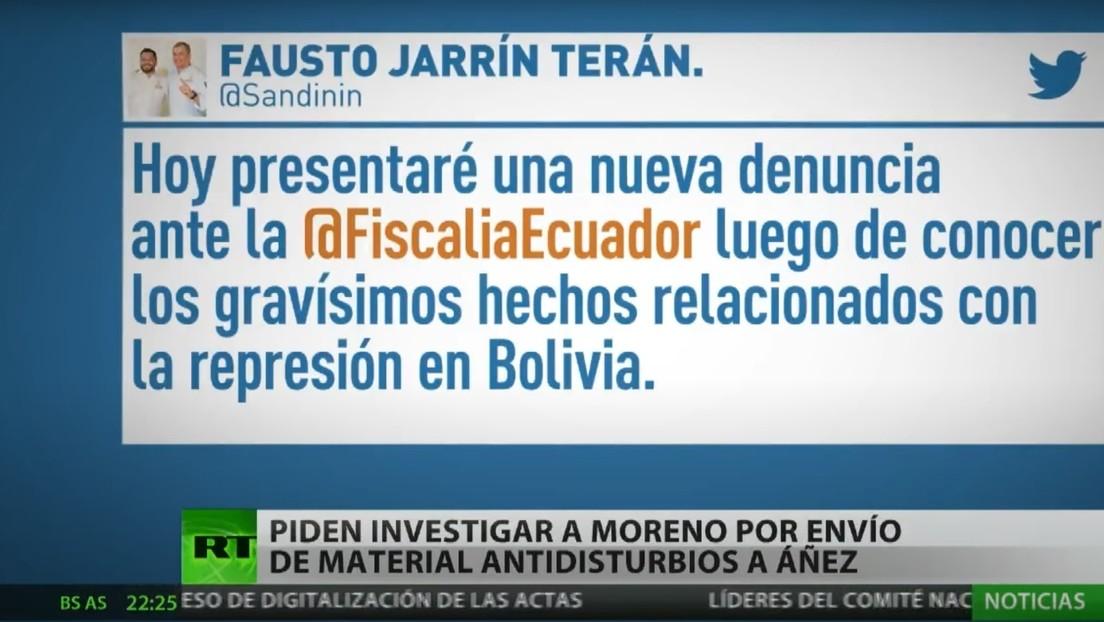 Piden investigar en Ecuador a Lenín Moreno por envío de material antidisturbios al Gobierno 'de facto' de Jeanine Áñez