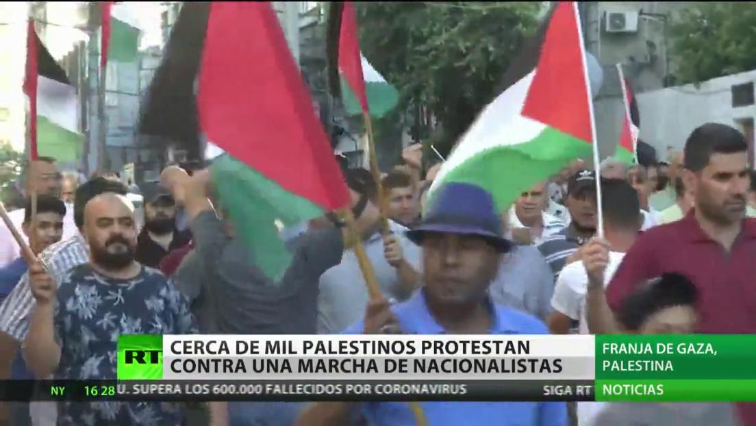 Alrededor de 1.000 palestinos protestan contra una marcha de nacionalistas israelíes