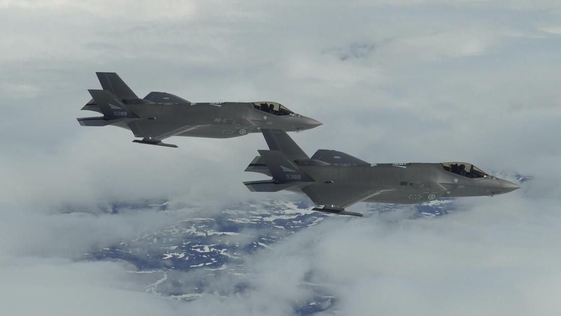 FOTOS: La Fuerza Aérea noruega muestra por primera vez sus cazas F-35 en pleno vuelo