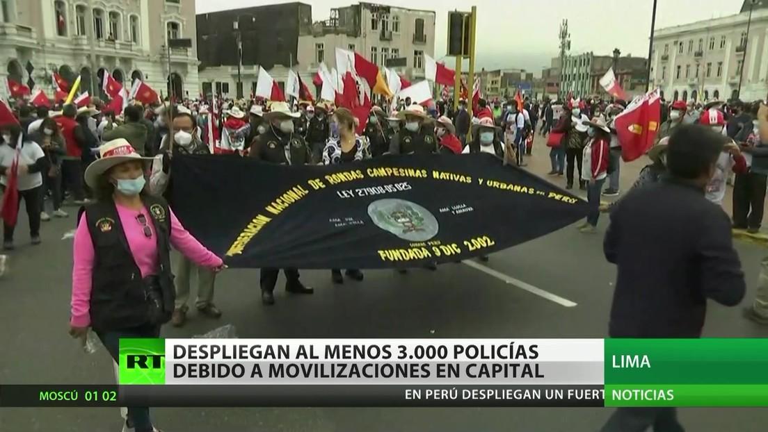 Perú: Despliegan 3.000 policías por las movilizaciones en la capital