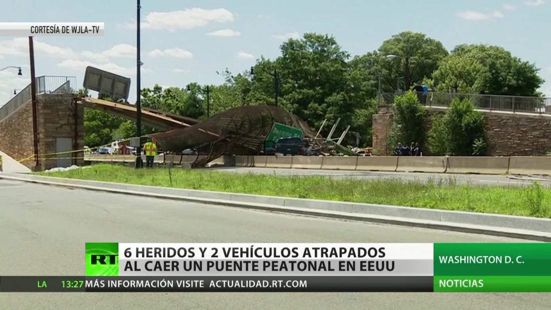 Seis heridos y dos vehículos atrapados deja el derrumbe de un puente en Washington