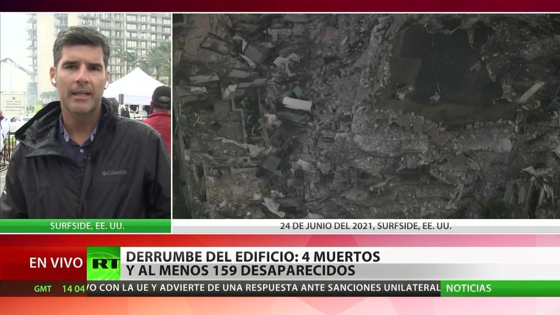 Derrumbe de un edificio cerca en Florida: cuatro muertos y al menos 159 desaparecidos