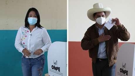 Balotaje en Perú: Los sondeos del conteo rápido arrojan un empate técnico entre Keiko Fujimori y Pedro Castillo