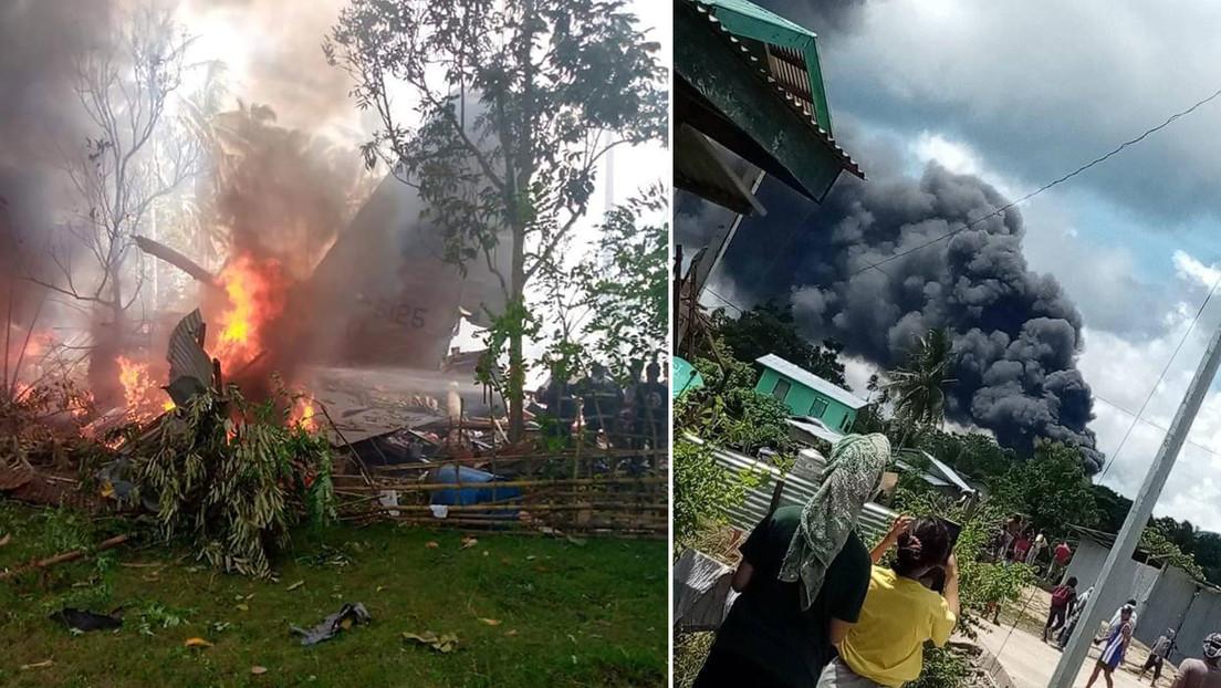 Se estrella un avión militar filipino con 96 personas a bordo