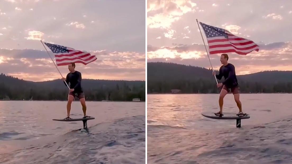 VIDEO: Mark Zuckerberg ondea una bandera estadounidense mientras surfea en su tabla eléctrica y la Red estalla en burlas