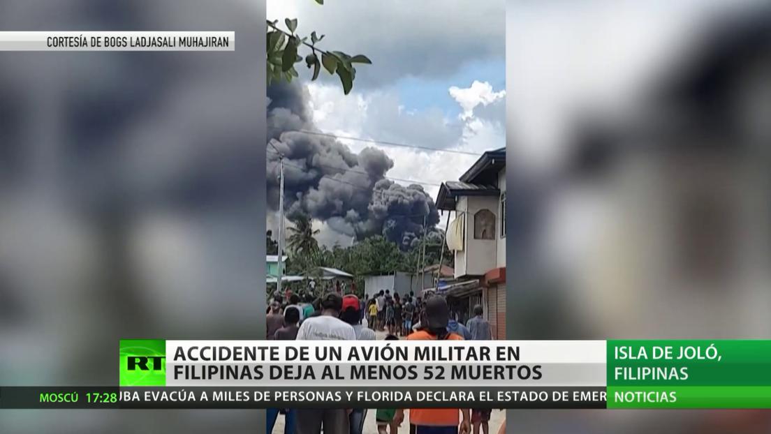 Accidente de un avión militar en Filipinas deja al menos 52 muertos y decenas de heridos