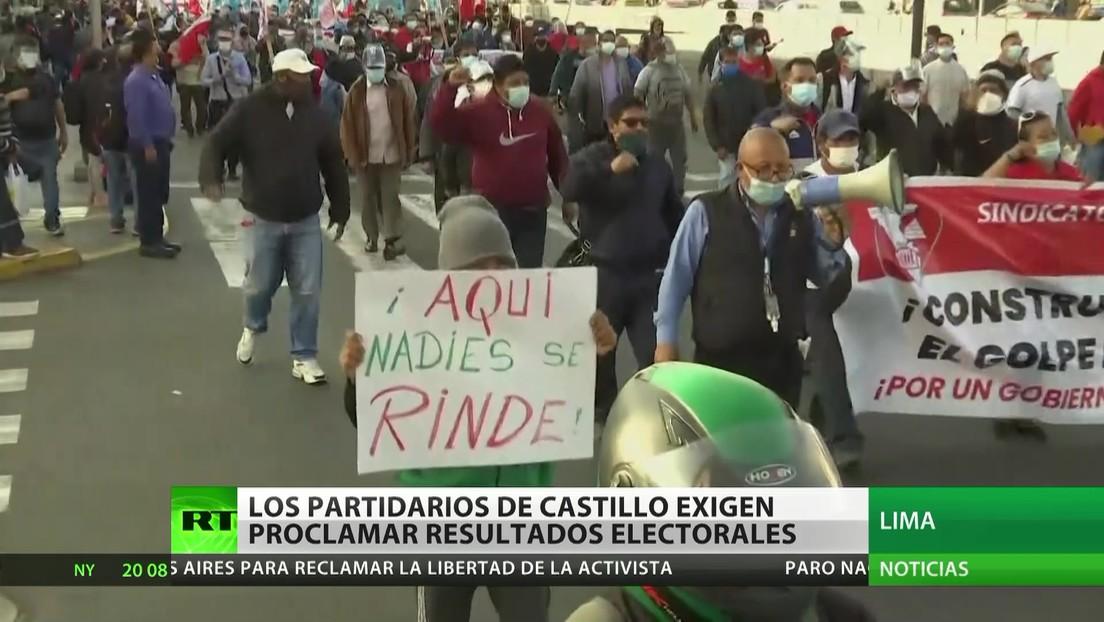 Perú: Los partidarios de Castillo exigen proclamar los resultados electorales