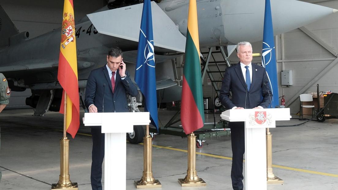 VIDEO: Una alerta aérea interrumpe una rueda de prensa de Pedro Sánchez y el presidente de Lituania