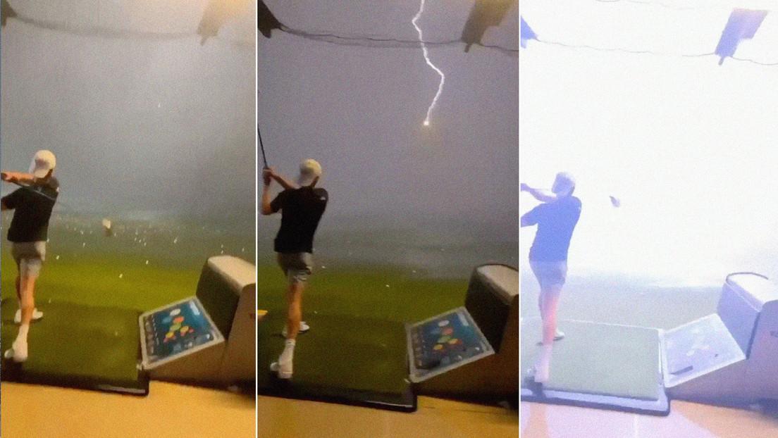 VIDEO: Una bola de golf lanzada por un joven a más de 140 kilómetros por hora es alcanzada por un rayo en pleno vuelo