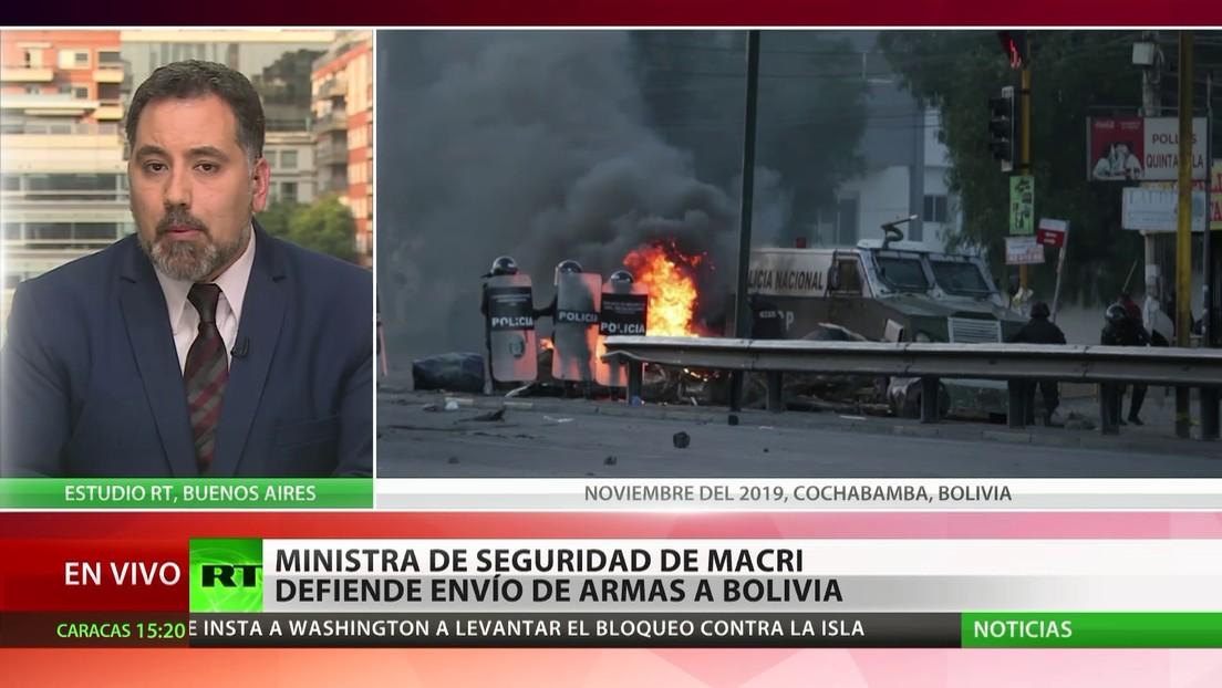 Exministra de Seguridad de Argentina defiende el envío de armas a Bolivia