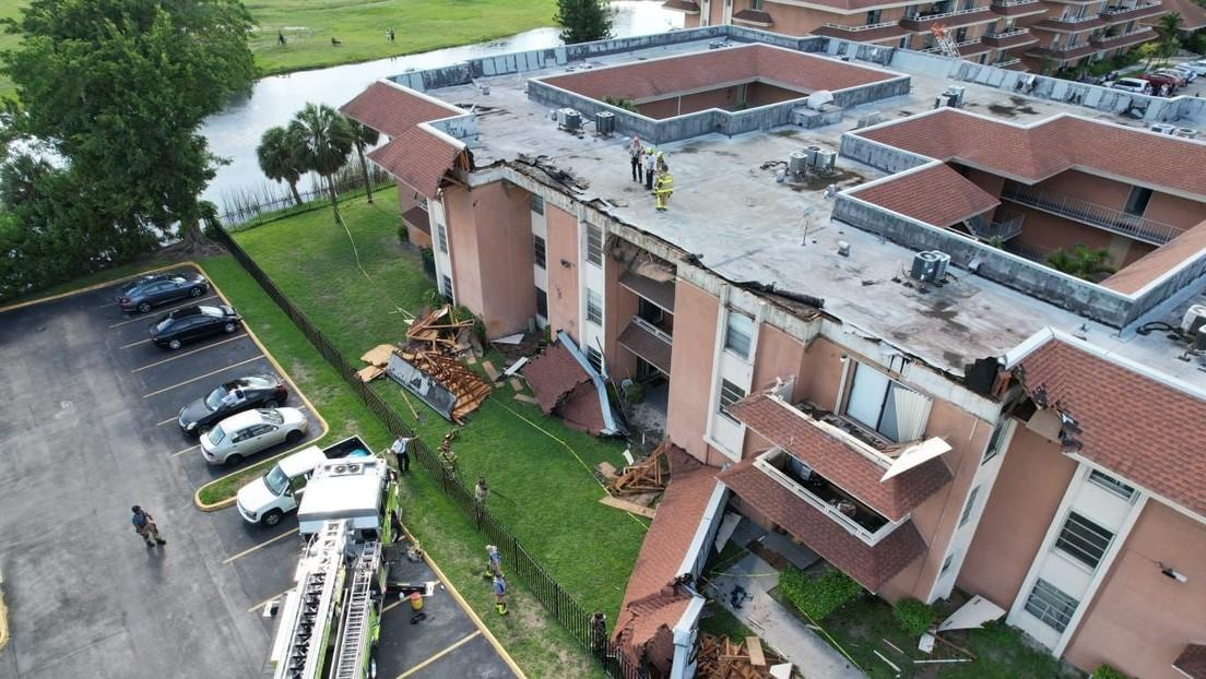 Colapsa el techo de un edificio de apartamentos en Miami (VIDEO)