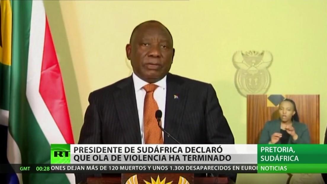 El presidente de Sudáfrica asegura que ha terminado la ola de violencia y disturbios en el país