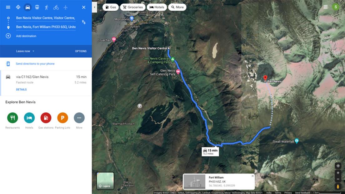 """Descubren que Google Maps envía a los senderistas por una ruta """"potencialmente fatal"""" en el monte británico más alto"""