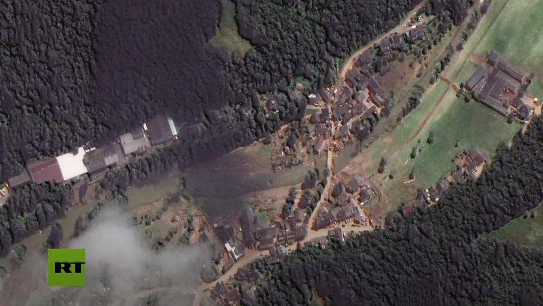 Imágenes satelitales del antes y después de las inundaciones que se cobraron más de 160 vidas en Alemania (VIDEO)