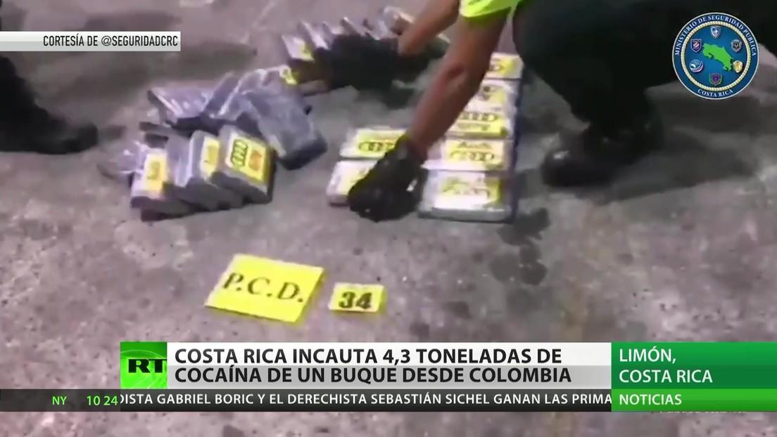 Costa Rica: Incautan 4,3 toneladas de cocaína oculta en un contenedor procedente de Colombia