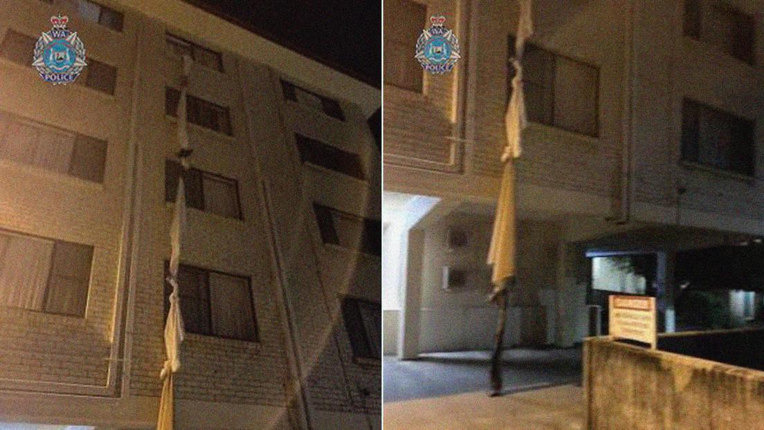 FOTOS: Un hombre ata sábanas para escapar por la ventana de un hotel en el que cumple cuarentena, pero termina en manos de la Policía
