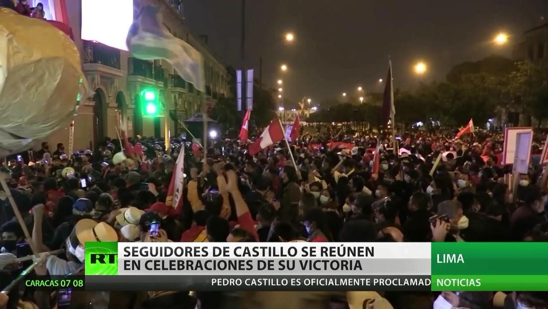 Perú: Seguidores de Castillo salen a las calles para celebrar su victoria