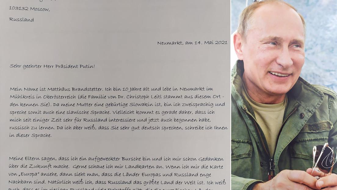 """""""Por favor, no pierda la fe en Europa"""": un niño austriaco envía una carta a Putin y recibe una respuesta"""