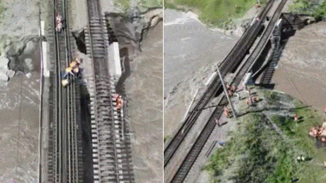 El legendario tren Transiberiano se paraliza al desplomarse un puente por las fuertes lluvias en el Lejano Oriente ruso