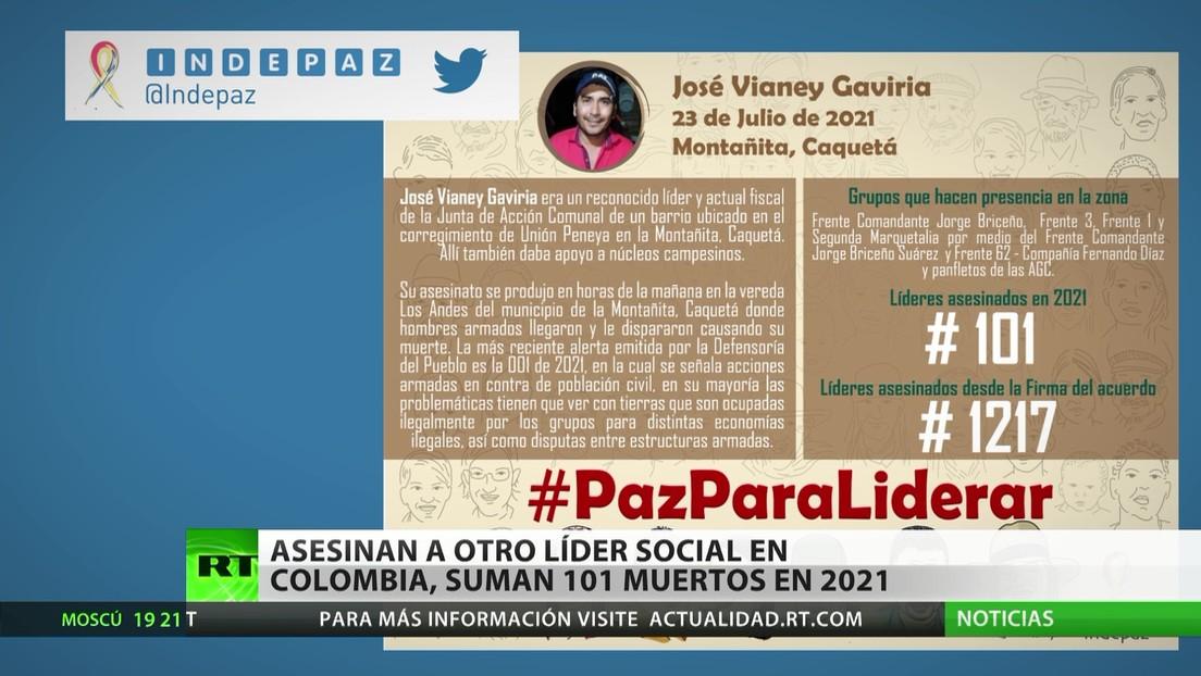 Colombia ya suma 101 muertes de líderes sociales en 2021