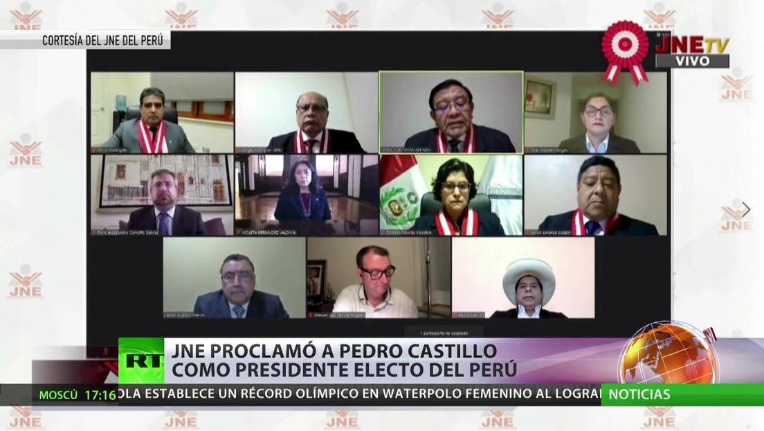 El Jurado Nacional de Elecciones proclama a Pedro Castillo como presidente electo de Perú