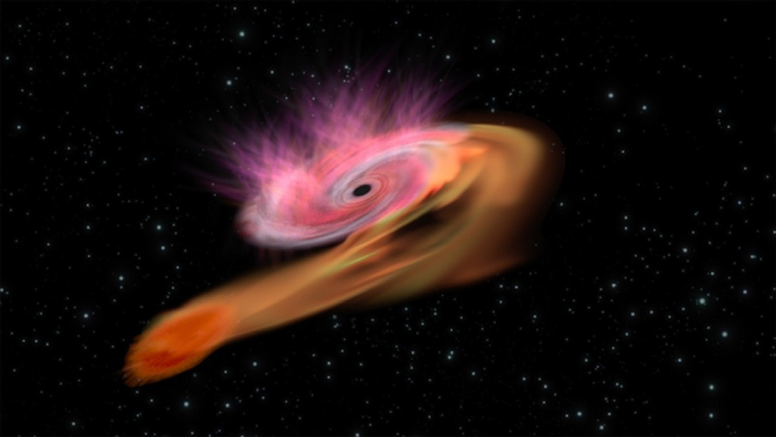 Detectan cómo un agujero negro rompe una estrella en el centro de una galaxia