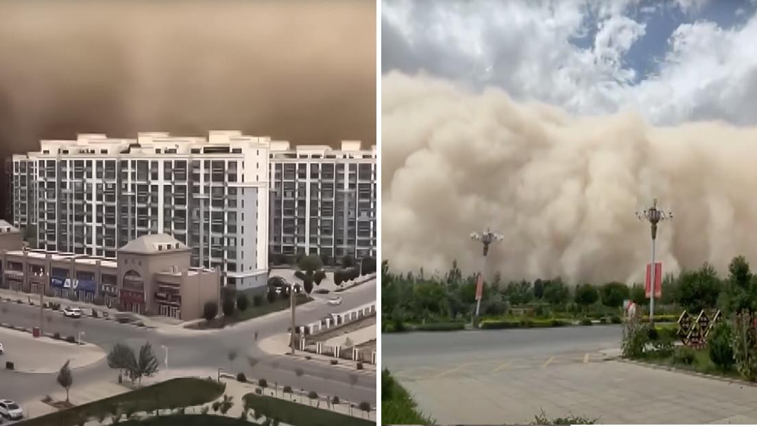 VIDEOS: Una enorme tormenta de arena de más de 100 metros de altura 'engulle' una ciudad china en pocos minutos
