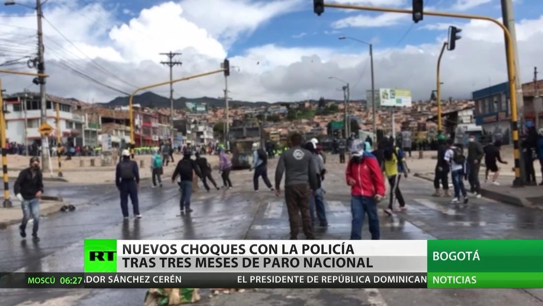 Nuevos choques entre manifestantes y la Policía, tras 3 meses de paro nacional en Colombia