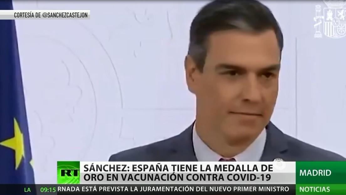 """Pedro Sánchez: """"España tiene la medalla de oro en vacunación"""" contra el covid-19"""